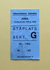 ABBA - October 20, 1979 Used Concert Ticket - Stockholm, Sweden - RARE!