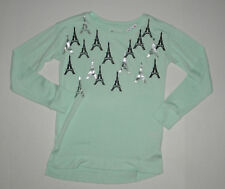 NWT JUSTICE MINT GREEN TUNIC EIFFLE TOWER PREPPY SWEATER GIRLS 10 FALL SPRING