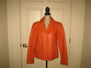 ~Marc Mattis ~Women's 100% Genuine Leather Burnt Orange Biker Style Jacket~ SZ L