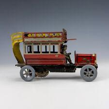 Antique German Tin Plate Clockwork Penny Toy - Open Top Double Decker Bus