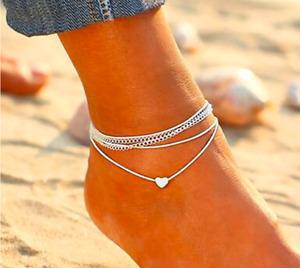 Women's Sexy Bohemian Silver Heart Ankle Bracelet Multi Layer  Adjustable Chain