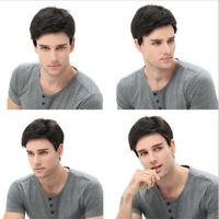 Handsome Men Boys Full Wig Korean Short Wavy Natural Black Male Hair Cosplay Wig