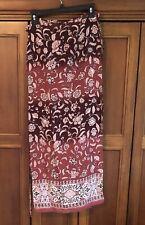 Jonathan Martin Long Maxi Wrap Skirt Size Medium Floral Pink Rose Polyester NWT
