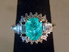 14K YG PARAIBA Tourmaline and WHITE Diamond Ring With ID Card