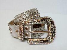 BB Simon Swarovski Crystal Silver Leather Belt 36 XL