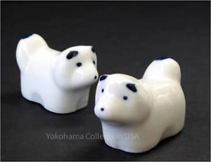 2 PCS.Chopstick Rest Porcelain White AKITA Dog Design /Made in Japan