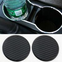 2Pcs Set Car Auto Water Cup Slot Non-Slip Carbon Fiber Look Black Mat Access