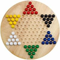 Chinese Checkers with Wood Board and Wood Marbles