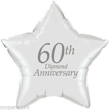 60th ANNIVERSARY PRINTED MYLAR BALLOON Party Supplies FREE SHIPPING