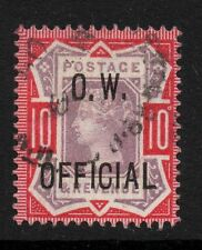 QV Jubilee 10d  sg 035 with O.W. Official overprint and light registered pmk