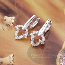 Fashions Forever ® Hoja Cubic Zirconia pendiente Hoop-, Chapado en Platino, vendedor de Reino Unido