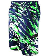 NEW TYR Men's TROPICAL LEAF Boardshorts / Swim Trunks - Navy White Green - XL