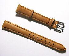 14mm Quality Genuine Leather Padded Tan Light Brown Watch Band - Size Regular