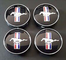 4x 60 mm FORD MUSTANG GT RUNNING HORSE COBRA BLACK CENTER CAPS CAP RIMS COBRA