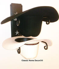 American Made Cowboy Hat Rack with Stars Powder Coated Black with Silver Stars