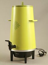 VTG West Bend 20 Cup Electric Coffee Maker Party Perk Percolator Green 1970's