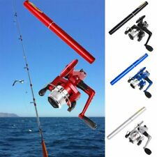 Telescopic Mini Fishing Tackle Pocket Pen Kit Rod Pole Aluminum Alloy Wheel Tool