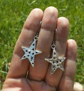 Shining Starry Star & Sterling Silver Plated Leverback Earrings Sundance Artisan