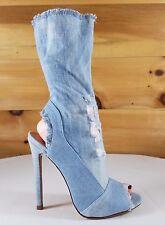 So Me Jessa Light Frayed Denim Open Toe High Heel Low Calf Boot 6.5-11