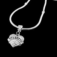 Diabetic necklace pendant alert jewelry gift  medical alert Crystal Heart