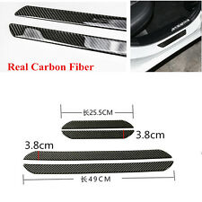 4x 48CM+25CM Real Carbon Fiber Car Scuff Plate Door Sill Cover Panel Protector
