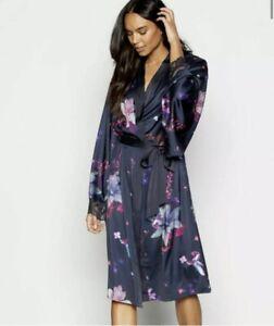 BNWT Ted Baker POMEGRANATE Long Navy Kimono Dressing gown robe Size 8-10 NEW