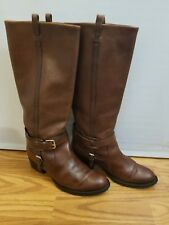 Ralph Lauren Collection Womens Boots Sz 9 Brown Riding Leather  Harness Italy