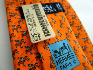 Hermes Cheval A Roulettes Jockey tie NEW WITH TAGS