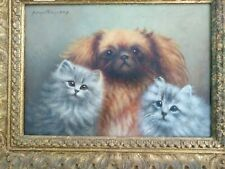 Original signed Oil Painting of a Pekingese Puppy with two Kittens