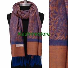 Two Tone Paisley Pashmina Silk Cashmere Shawl Scarf jacquard Wrap Salmon/Blue