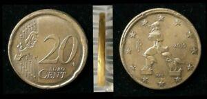 Monnaie 20 Cent Euro fautée Italie 2010 Roue de wagon Erreur faute fautée (85)