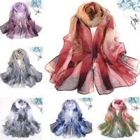 Spring Women Georgette Soft Scarves Long Floral Beach Shoulder Wrap Silk Scarf