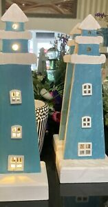 LED Blue and White Decorative Wooden Lighthouse - Bathroom/Kitchen Ornament