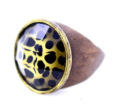 leopard skin animal print wood band ring