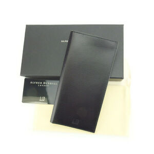 Dunhill Wallet Purse Long Wallet Logo Black Mens Authentic Used Y3953