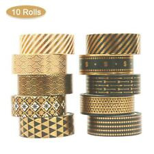 10 Rolls Paper Masking Tape Self Adhesive Decorative Metallic Black Slogan