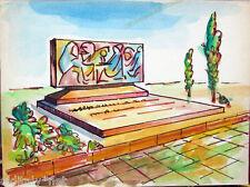 Acquerello '900 su carta Watercolor Architettura futurista cubista razionale-95