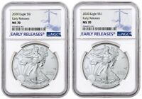2020 1oz Silver Eagle NGC MS70 Early Releases Blue Label - 2 Pack