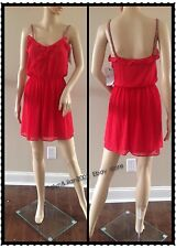 Rare!  size M NWT ZARA Red Strappy Dress Flared beaded strip Wedding Party