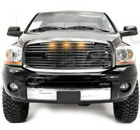 Big Horn+LED Black Packaged Grille+Chrome Shell for 06-08 Dodge Ram 1500+2500+35