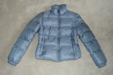 Prada Blue / Grey Down Quilted Zip Through Jacket Coat Womens Size IT 40 UK 8