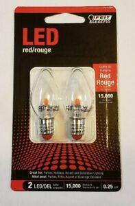 1W Red LED E-12 Base Night Light Bulbs 2-Pack Feit Electric New BPC7RJW