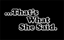 That's What She Said sticker decal Die Cut Vinyl vehicle JDM window THE OFFICE