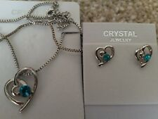 Silver blue Fashion Crystal Pendant Necklace Earrings 2 hearts Set nickel free
