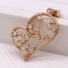 Love and Hearts 18K Gold Plated White ZN Crystal Pendant Fashion Lovers Jewelry