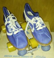 MAKAHA Vintage 70s blue/White Canvas Derby Roller Skates Size 7 men and 9 womens
