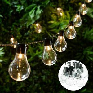 Retro 20 Bulbs Solar String Lights Outdoor Garden LED Festoon Party Hanging Lamp