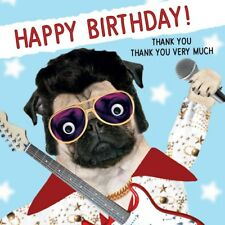 Pug Elvis Funny Gogglies 3D Moving Googly Eyes Birthday Greeting Card Dog Lovers