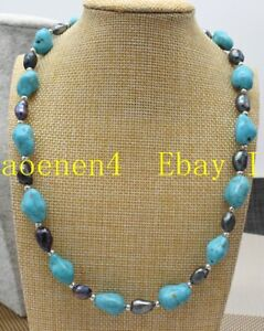 New 10x14mm Natural Blue Turquoise 9-10mm Black Baroque Pearl Necklace 18''