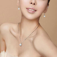 10mm Fashion Elegant White Pearl Pendant Necklace Silver Chain Jewelry Gift FT